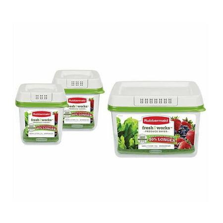 Rubbermaid FreshWorks Produce Saver 3-piece Set 2 x Medium, 1 x Large 3-Piece Set