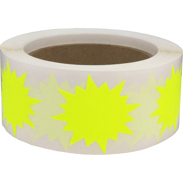 Color Coding Burst Labels Fluorescent Yellow Starburst Design 2