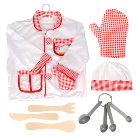 TopTie Chef & Waiter Role-Play Costume Set For Kids Pretend Play Dress-up and Play set-White Chef-S](Chef Costume For Kids)
