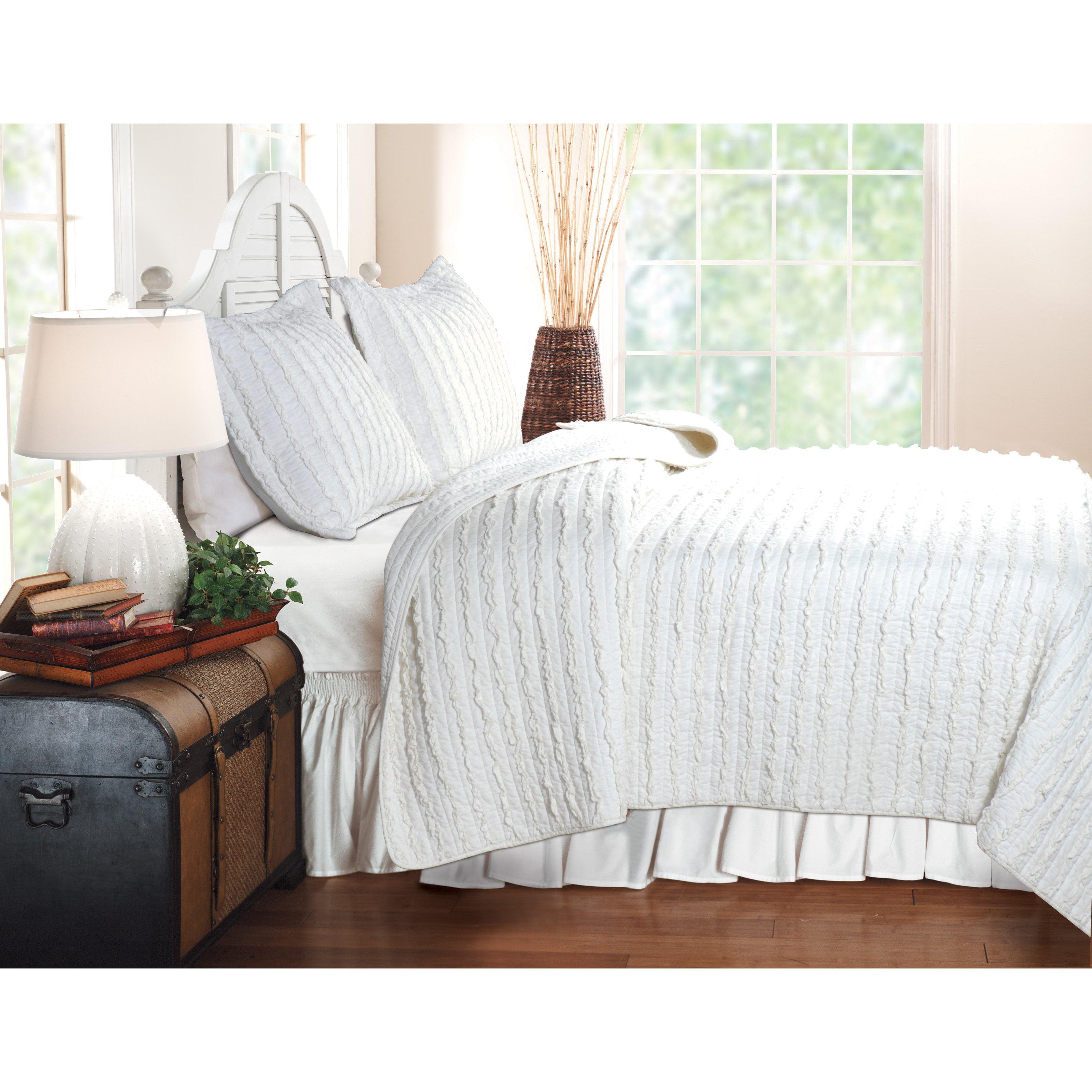 Twin white ruffle bedding - Greenland Home Fashions Ruffled 2 Piece Quilt Set White Walmart Com