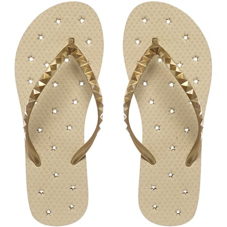Showaflops Women's Antimicrobial Shower and Water Sandals - Sand/Gold Stars