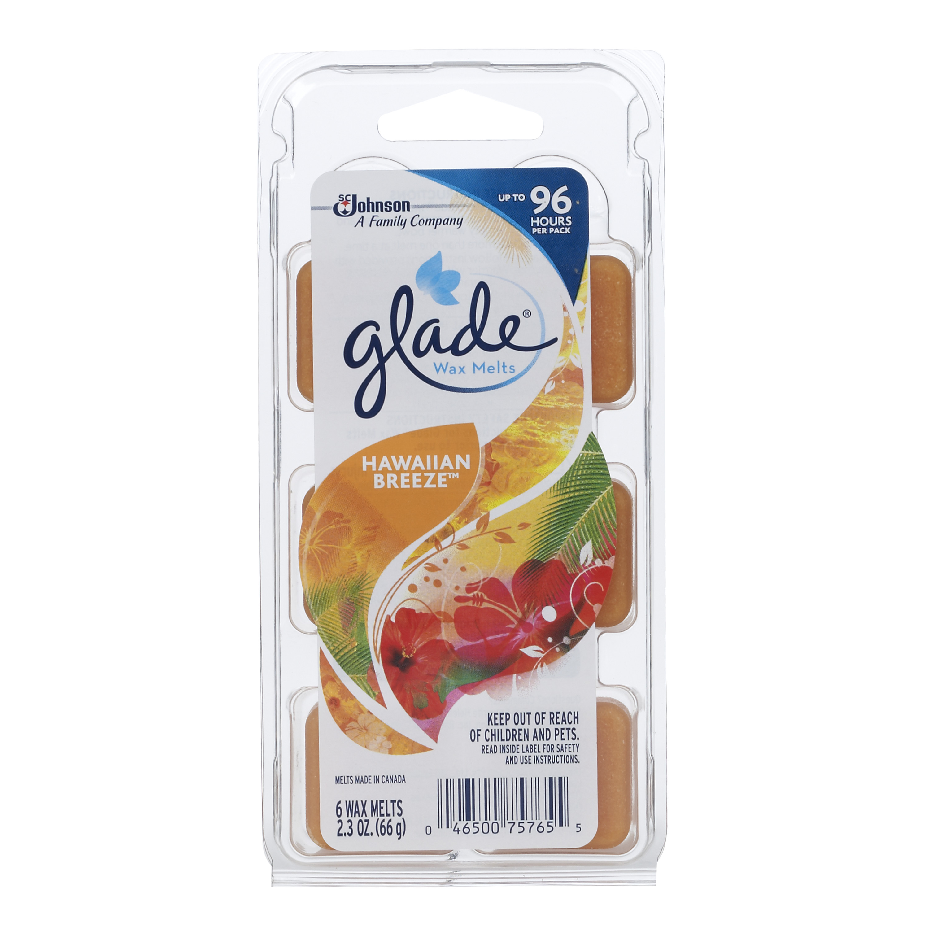Glade Wax Melts, Hawaiian Breeze, 2.3 Oz. (6 Wax Melts)