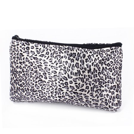 Lady Leopard Pattern Makeup Cosmetic Organizer Bag Black White