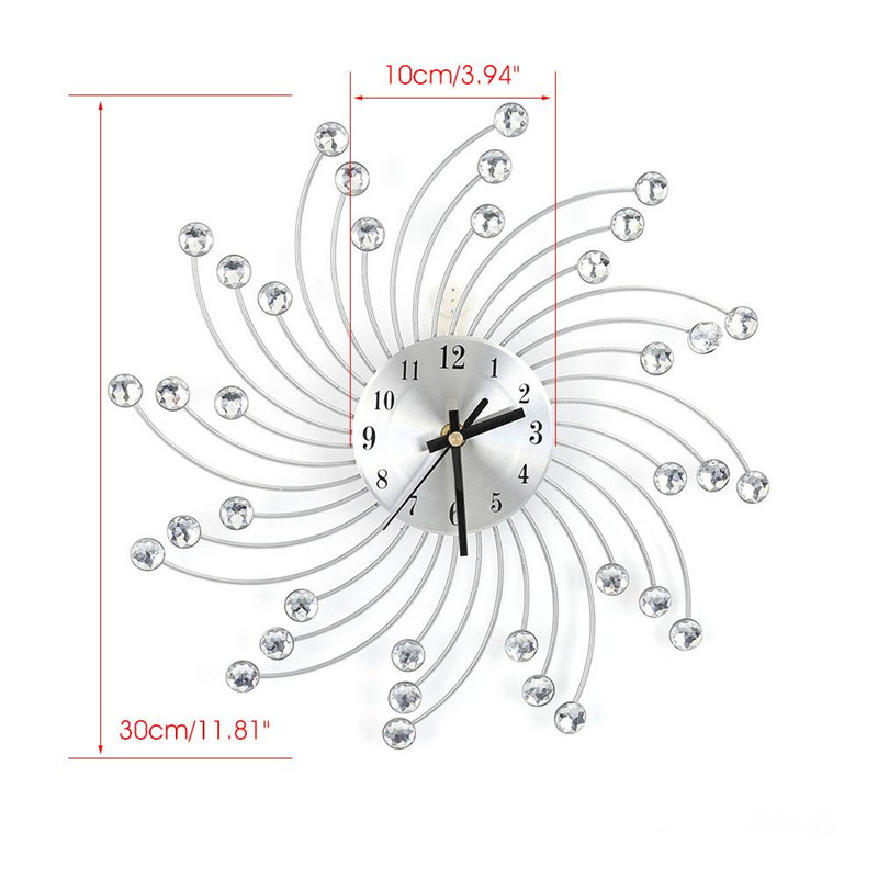 Estink Metal Diamonds Decorative Wall Clock Crystal Sunburst Silver