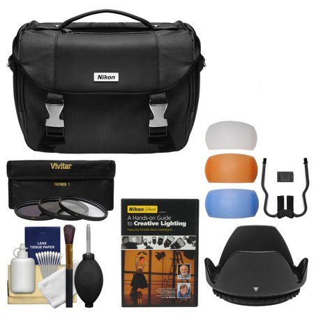 Nikon Deluxe DSLR Camera Case + Tele/Wide Lenses + 67mm UV/CPL/ND8 Filters & Hood + Lighting DVD Kit for D3300, D5300, D5500, D7100, D7200 & 18-140mm VR Lens