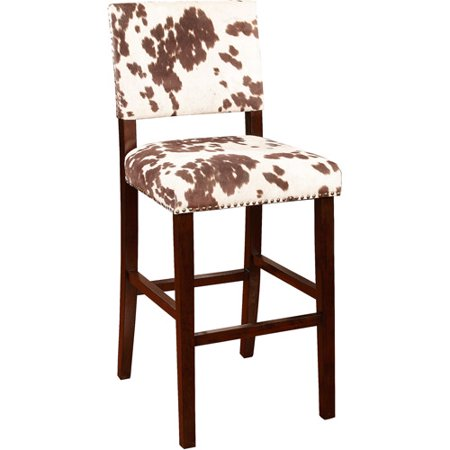 Linon Corey Bar Stool, Udder Madness, 30 inch Seat Height Hawthorne 30 Bar Stool