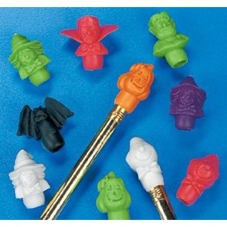 Fun Express Halloween Pencil Top Erasers Party Favors - 12 Dozen - Fun Halloween Party Food For Adults