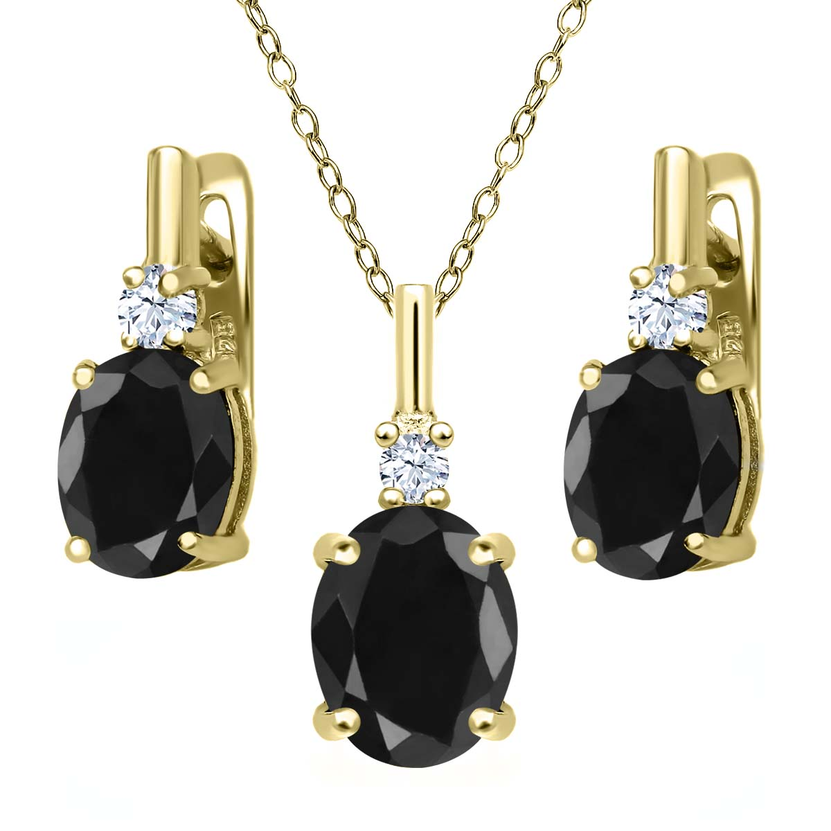 7.70 Ct Black Sapphire White Topaz 18K Yellow Gold Plated Silver Pendant Earrings Set by