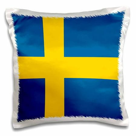 3dRose Flag of Sweden - Swedish blue and golden yellow Nordic Scandinavian Cross gold Scandinavia world, Pillow Case, 16 by 16-inch ()