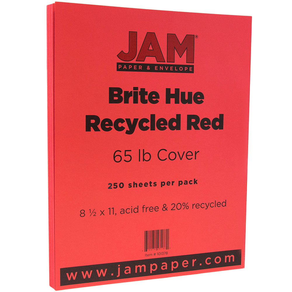 """JAM Paper Bright Colored Cardstock, 8.5"""" x 11"""", 65 lb Brite Hue Red Recycled, 250 Sheets/Pack"""