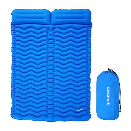 TOMSHOO Camping Mat Outdoor With Pillow Ultra-light Portable 2 Person Mattress Inflatable Mat Double Sleeping Pad Moisture-proof - Ultra Inflatable