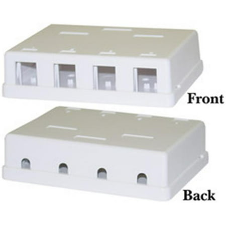 Cable Wholesale Blank Surface Mount Box for Keystones, 4 Hole, White - image 1 of 1