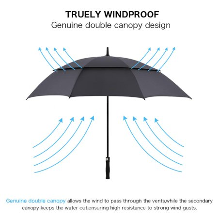 WALFRONT 62 Inch Automatic Open Golf Umbrella Double Canopy Vented Windproof Extra Large Big Oversize ()