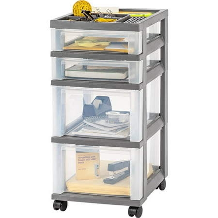 IRIS 4-Drawer Rolling Storage Cart with Organizer Top, Gray
