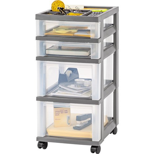 iris 4 drawer rolling storage cart with organizer top gray. Black Bedroom Furniture Sets. Home Design Ideas