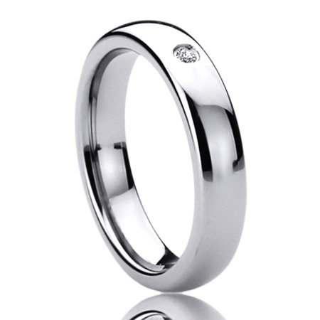 Women's 4MM Titanium Comfort Fit Wedding Band Ring Single CZ Setting Domed Classy Ring (5 to 10)