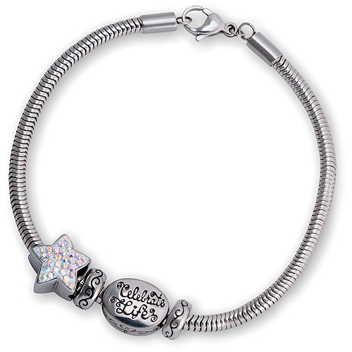 """Connections from Hallmark Pave Crystal Star and Stainless Steel """"Celebrate Life"""" Bracelet Set, 7.75"""""""