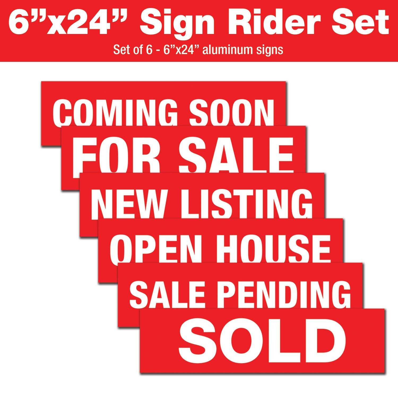 2-6x24 Sale Pending Real Estate Rider Sign Black
