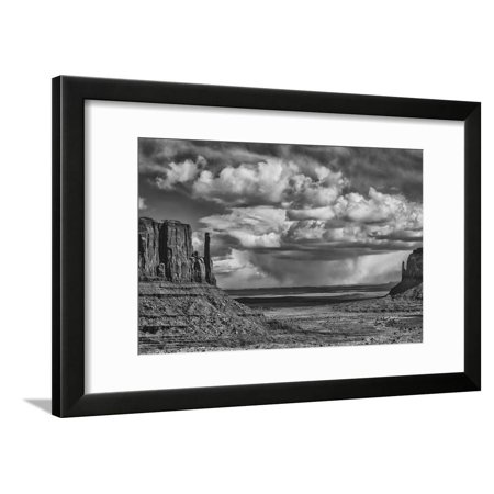 USA, Arizona, Monument Valley Approaching Storm Black and White Desert Photo Framed Print Wall Art By John Ford - Monument Valley Usa Framed