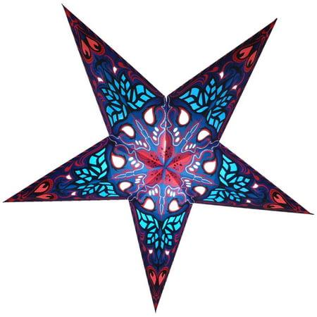 24 blue crown paper star lantern hanging decoration for Paper star lamp