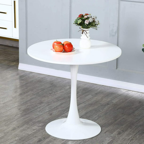 Tulip Round Dining Table 32 With Metal, Round White Dining Table With Pedestal Base