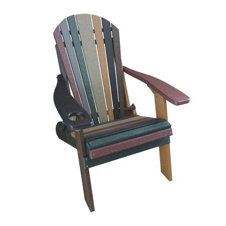 Furniture Barn USA® Striped Earth Tone Style Folding Poly Fanback Adirondack Chair - 1 Cup Holder ()
