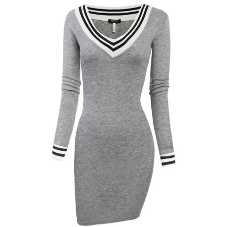 Women Dress V-neck Long Sleeve Pencil Dress Bodycon Knitting Package Hip Slim Mini Party Dress RllYE