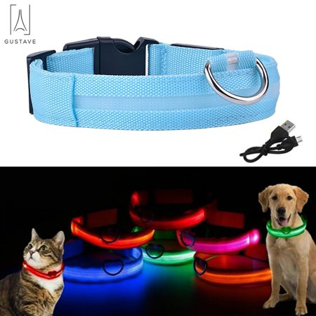 Cotton Collar Light (GustaveDesign LED Dog Cat Collar Nylon Glow Flashing Light Up Night Safety USB Rechargeable with 3 Glowing Modes & 3 Reflective Strings Collars Pet Supplies