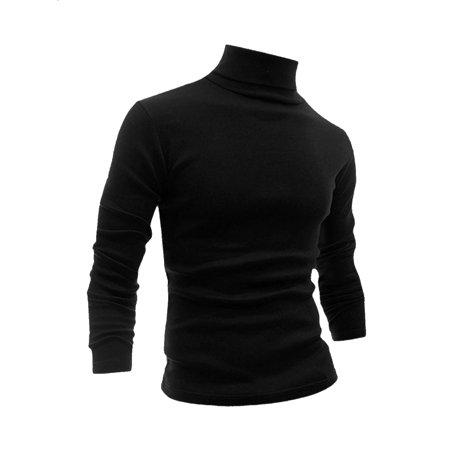 Men Long Sleeve Turtle Neck Slim Fit Pullover Tee Black (Mens Dri Fit Long Sleeve T Shirts)