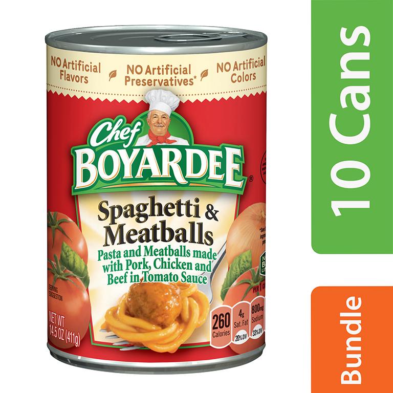(10 Pack) Chef Boyardee Spaghetti and Meatballs, 14.5 oz