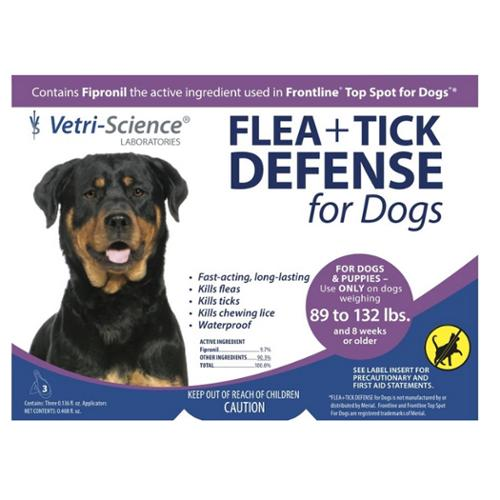 Vetri-Science Flea   Tick Defense For Dogs, 89-132 lbs, 3 Doses (Pack of 4)