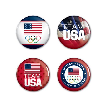 Usa Olympics Official USA Metal Button Badge Pin Set 4 Pack by Wincraft -