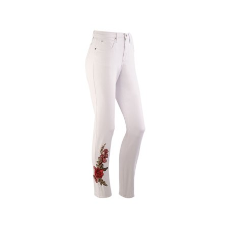 Impulse California Women's Straight Leg Jeans - Tummy Support, Rose Embroidered ()