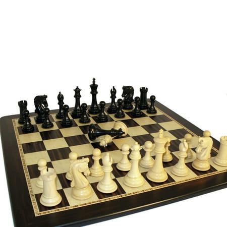 - Chetak Ebony Chess Set on Birdseye Board with Double Queens