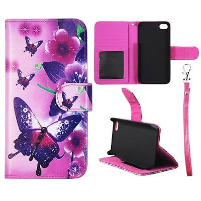 Wallet Butterfly Pnk Flower For Iphone 4 4S Syn Leather Folio Dual Layer Interior Design Flip PU Leather case Cover Card Cash Slots & Stand  Cover