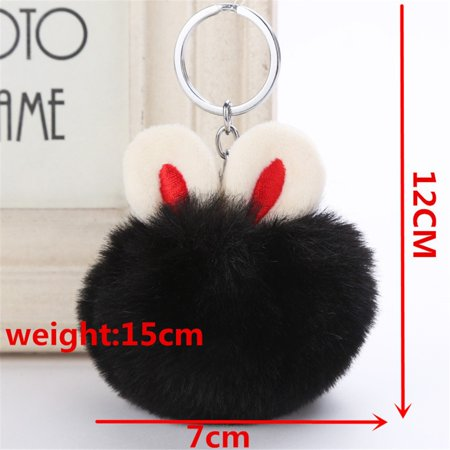 7CM Cute Rabbit Keychain Pendant Women Key Ring Holder Pompoms Key Chains](Rabbit Foot Keychain)