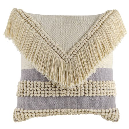 Better Homes & Gardens Handcrafted Fringed Loop Stripe Decorative Throw Pillow, 18