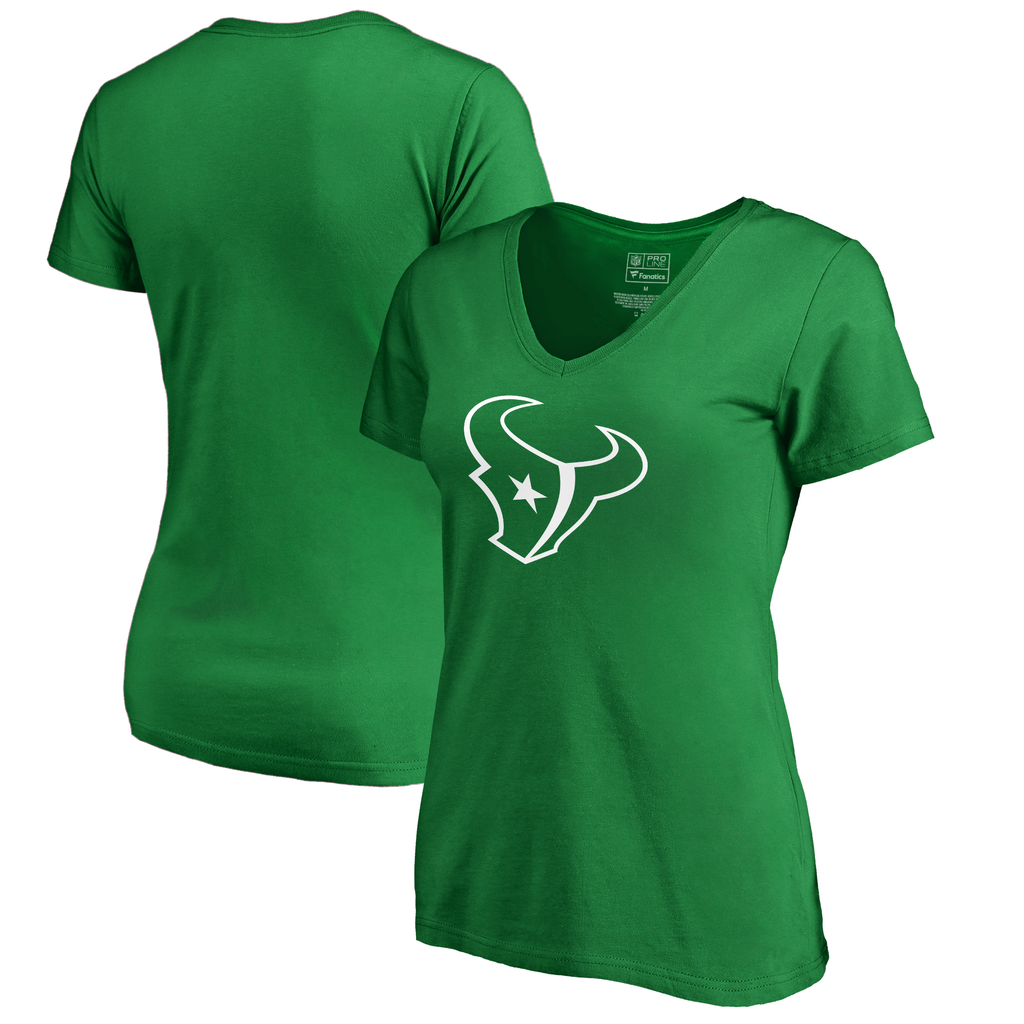 Houston Texans NFL Pro Line by Fanatics Branded Women's St. Patrick's Day White Logo T-Shirt - Kelly Green