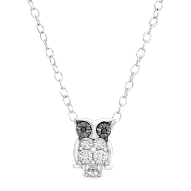 Owl Pendant Necklace with White and Black Diamonds in Sterling Silver, 17