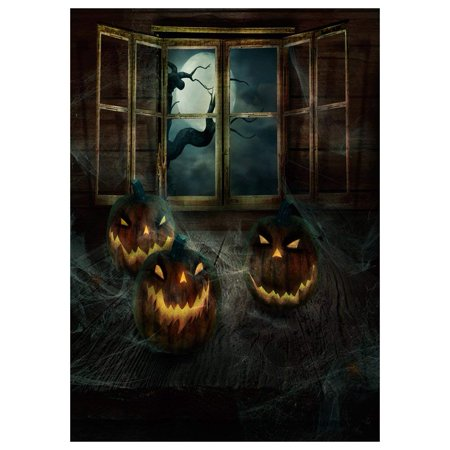 ABPHOTO Polyester Photography Background Photo Backdrops Magic Theme Horror night wooden table, pumpkin lights, spider web, grid windows, branches, moon for Halloween - List Halloween Horror Nights Themes