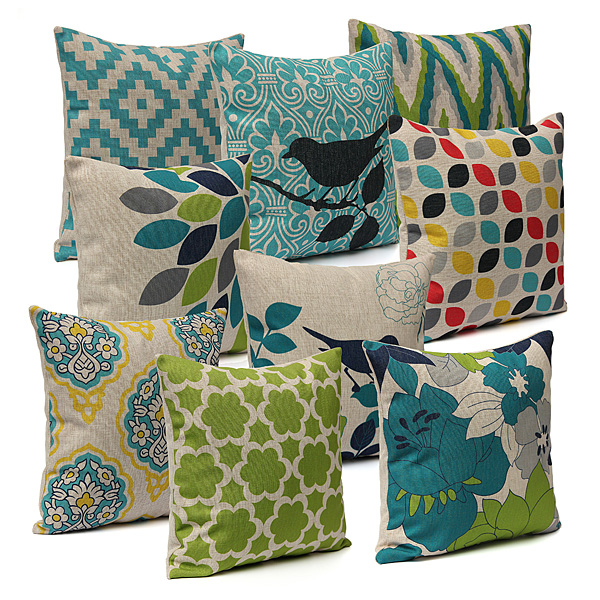 Throw Pillow Cases Cushion Cover Durable Cotton Linen Fabric Vibrant Hidden Zipper Designs Pattern PillowCase for Living Room Sofa Couch Chair Car Seat 18''x18'' Geometry Green