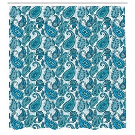 Paisley Shower Curtain, Antique Asian Floral Ethnic Ornamental Retro Swirled Artistic Pattern, Fabric Bathroom Set with Hooks, Teal Pale Blue Aqua, by