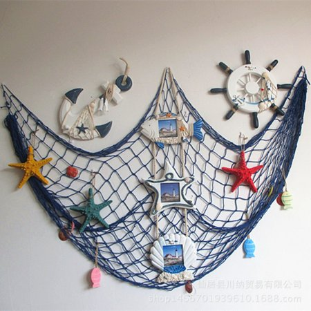 Fishing Decorations (Cluxwal Mediterranean Style Fishing Nets Decorative Wall Hangings Decoration with Sea Shells Home Decoration)