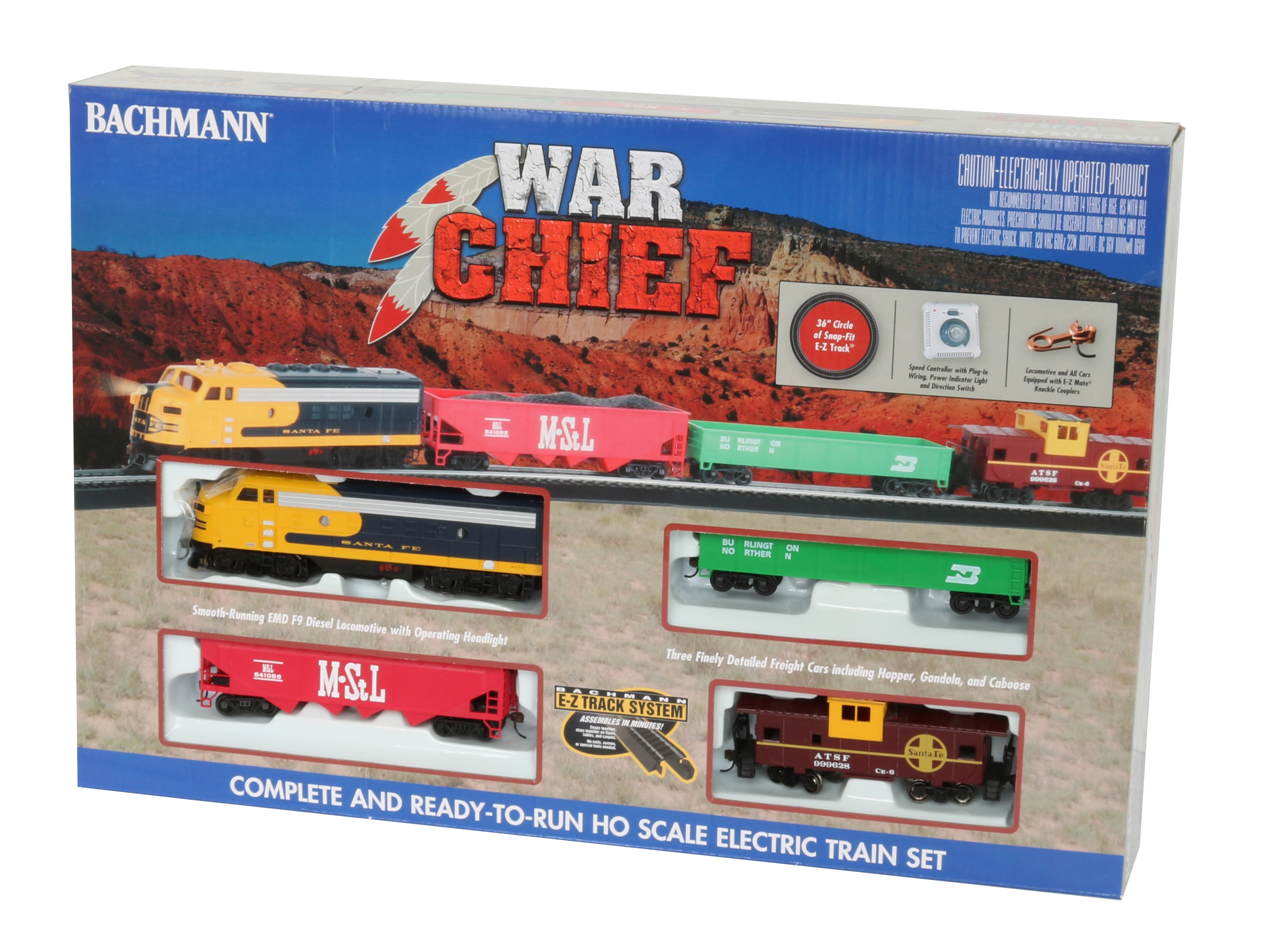 Bachmann Trains Santa Fe War Chief Ready To Run HO Scale Electric Train Set by Bachmann Trains