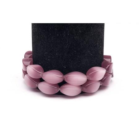 Mauve Cat's Eye Beads Twisted Oval Fiber Optic Glass Beads