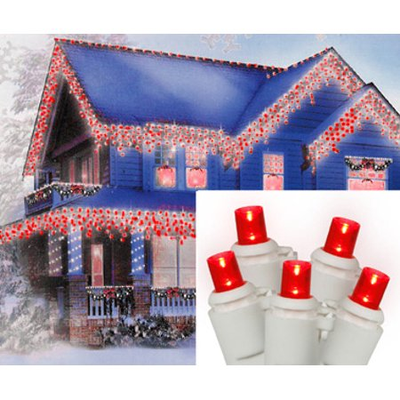 Set Of 70 Red Led Wide Angle Icicle Christmas Lights White Wire Walmart Com