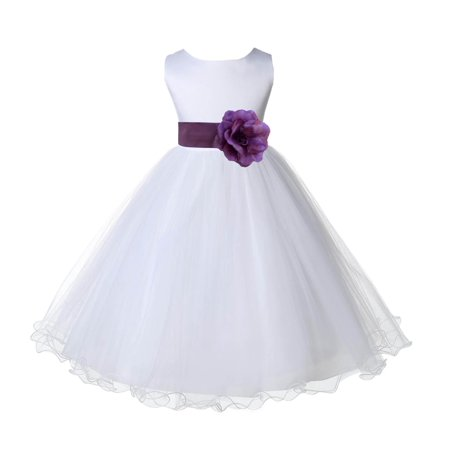 Ekidsbridal White Satin Tulle Rattail Edge Flower Girl Dress Bridesmaid Wedding Pageant Toddler Recital Easter Holiday Communion Birthday Baptism Occasions 829S (Flower Girl Dresses Tulle)