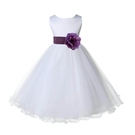 Ekidsbridal White Satin Tulle Rattail Edge Flower Girl Dress Bridesmaid Wedding Pageant Toddler Recital Easter Holiday Communion Birthday Baptism Occasions