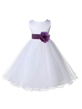 7e2608f879f Product Image Ekidsbridal White Satin Tulle Rattail Edge Flower Girl Dress  Bridesmaid Wedding Pageant Toddler Recital Easter Holiday