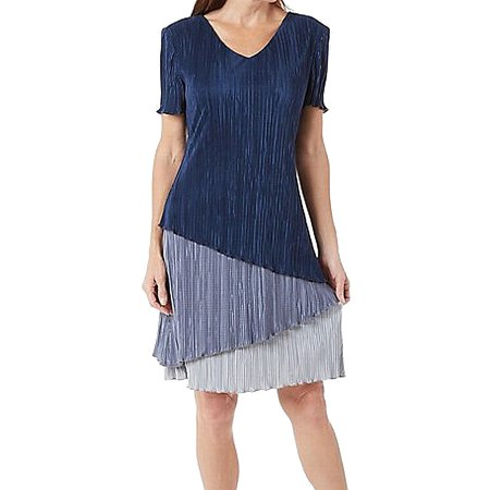 Pleated Shift Dress - Connected Apparel NEW Blue Womens Size 10 Tiered Pleated Shift Dress
